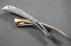 ESTATE LARGE .35CT DIAMOND 14KT TWO TONE GOLD CRISS CROSS LOVE PIN BROOCH #25870
