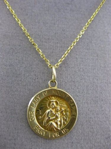 ESTATE 14KT YELLOW GOLD OUR LADY OF MOUNT CARMEL PRAY FOR US PENDANT #25078