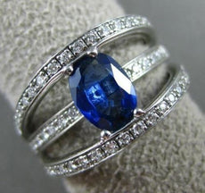 ESTATE WIDE 1.77CT DIAMOND & AAA SAPPHIRE 14K WHITE GOLD 3D OVAL ENGAGEMENT RING