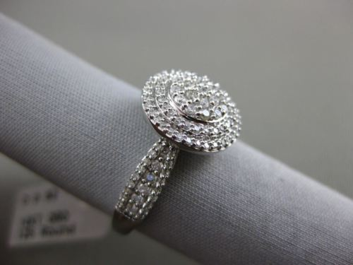 ESTATE WIDE .62CT DIAMOND 14KT WHITE GOLD 3D CLUSTER DOUBLE HALO FRIENDSHIP RING