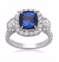 EGL CERTIFIED 4.95CT DIAMOND & AAA SAPPHIRE 18KT WHITE GOLD HALO ENGAGEMENT RING