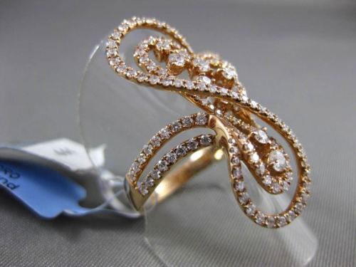 ANTIQUE MASSIVE 1.23CT DIAMOND 18KT ROSE GOLD 3D FLOATING MUSICAL NOTE FUN RING