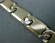 ESTATE WIDE 14K WHITE & YELLOW GOLD SOLID ITALIAN RECTANGULAR LINK MENS BRACELET