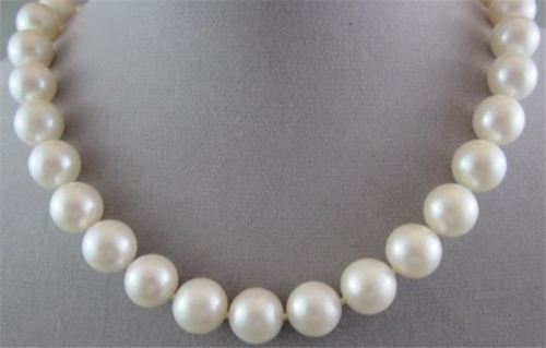 ESTATE 11mm - 12mm AAA WHITE SOUTH SEA PEARLS CLASSIC 14KT FILIGREE NECKLACE