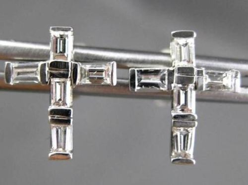 ANTIQUE .50CT DIAMOND 14KT WHITE GOLD 3D BAGUETTE CROSS STUD EARRINGS #ELV65