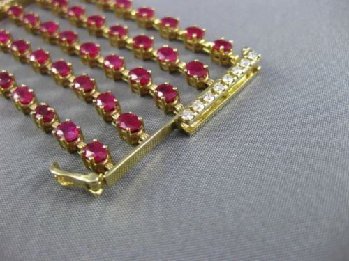 ESTATE WIDE 26.91CT DIAMOND & RUBY 14KT YELLOW GOLD 3D MULTI ROW TENNIS BRACELET