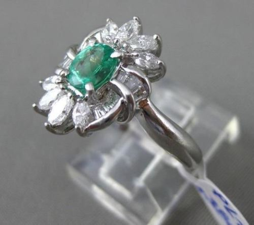 ANTIQUE LARGE 1.57CT DIAMOND & AAA EMERALD PLATINUM 3D FLORAL ENGAGEMENT RING