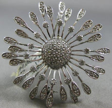 ESTATE LARGE .85CT DIAMOND 14KT WHITE GOLD 3D FLOWER SNOWFLAKE BROOCH PIN