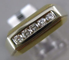 ESTATE .31CT ROUND DIAMOND 14KT YELLOW GOLD 3D 5 STONE RECTANGULAR MENS RING