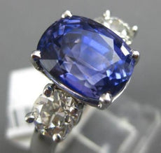 ESTATE LARGE 1.90CT DIAMOND & AAA SAPPHIRE 18KT WHITE GOLD ROUND ENGAGEMENT RING