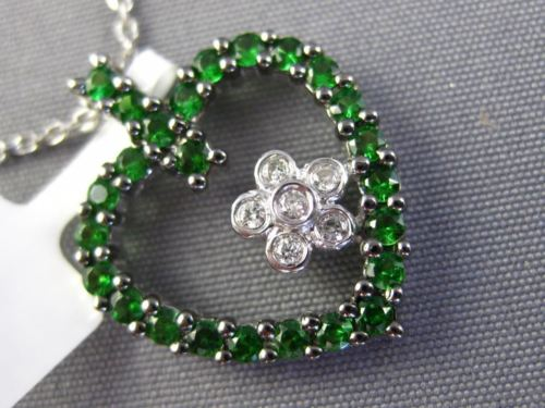 ESTATE 1.09CT DIAMOND & AAA GREEN RUBY 14KT WHITE GOLD FLOWER OPEN HEART PENDANT