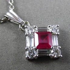 ESTATE 1.02CTW DIAMOND & AAA RUBY 14KT WHITE GOLD SQUARE FLOATING PENDANT #23852