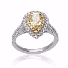 EGL CERTIFIED 1.8CT WHITE & FANCY YELLOW DIAMOND 18K 2 TONE GOLD ENGAGEMENT RING