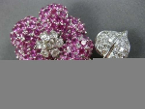 EXTRA LARGE 8.0CT DIAMOND & AAA PINK SAPPHIRE 18KT WHITE GOLD FLOWER PIN BROOCH