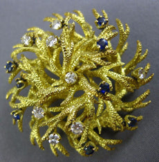 ANTIQUE .46CT DIAMOND & AAA SAPPHIRE 18KT YELLOW GOLD 3D ETOILE LEAF PIN BROOCH