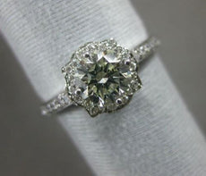 ESTATE 1.05CT DIAMOND 18KT WHITE GOLD 3D SOLITAIRE FLOWER SQUARE ENGAGEMENT RING