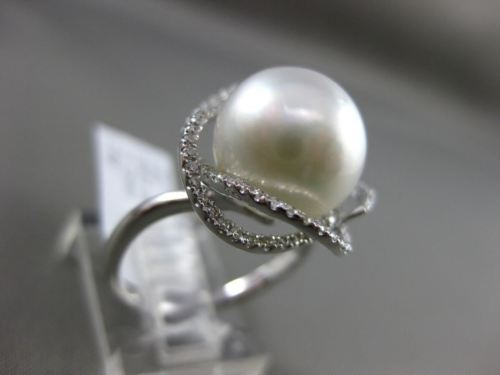 ESTATE LARGE .36CT DIAMOND 14KT WHITE GOLD 3D SOUTH SEA PEARL OPEN FLOWER RING