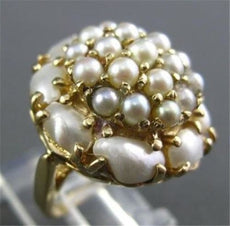 ANTIQUE LARGE 14KT YELLOW GOLD AAA SOUTH SEA PEARL CLUSTER RING STUNNING #22299