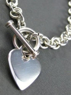 "ESTATE 925 SILVER HEART CHARM BRACELET 7""INCH HEART IS 17X19 BEAUTIFUL! #22103"