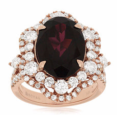 ESTATE LARGE 8.10CT DIAMOND & AAA RHODOLITE 14KT ROSE GOLD FLOWER COCKTAIL RING