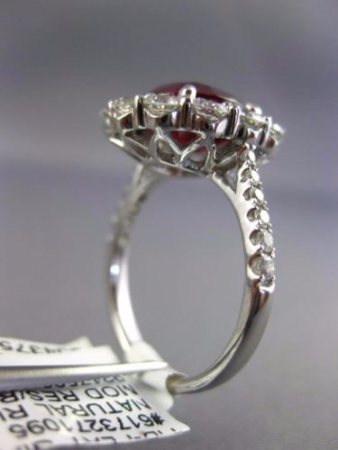 LARGE GIA 5.60CT DIAMOND & AAA RUBY PLATINUM 3D PRINCESS DIANA ENGAGEMENT RING