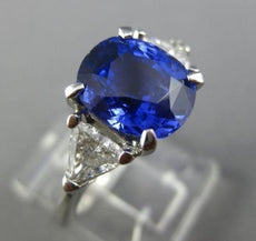LARGE CERTIFIED 4.70CT DIAMOND & CEYLON SAPPHIRE 14K WHITE GOLD ENGAGEMENT RING