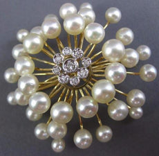 ESTATE LARGE .18CT DIAMOND & AAA SOUTH SEA PEARL 14KT YELLOW GOLD FLOWER BROOCH