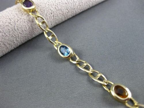 "ANTIQUE 14KT YELLOW GOLD MULTI GEM OVAL BRACELET 7"" INCHES EXQUISITE!!!!! #22702"