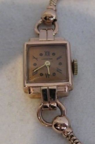 "ANTIQUE 14KT ROSE PINK GOLD LUSSERNA WATCH SWISS MECHANICAL MOVEMENT 6.50"" #501"
