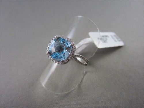 ESTATE WIDE SQUARE AAA BLUE TOPAZ & DIAMOND 4.39CTW 14KT WHITE GOLD RING