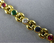 ESTATE 2.40CT DIAMOND & AAA MULTI GEM 18KT YELLOW GOLD 3D ETOILE TENNIS BRACELET