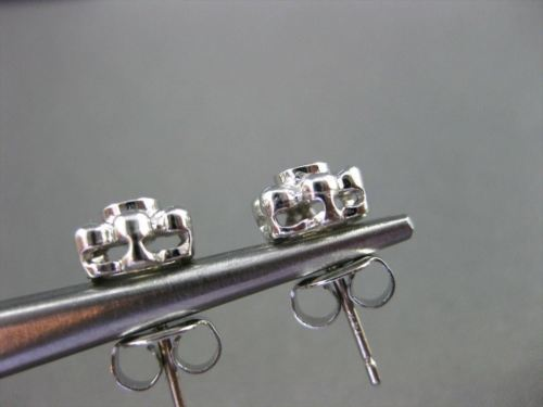 ANTIQUE .14CT DIAMOND 14KT WHITE GOLD SOLITAIRE FLOWER EARRINGS BEAUTIFUL! #4210