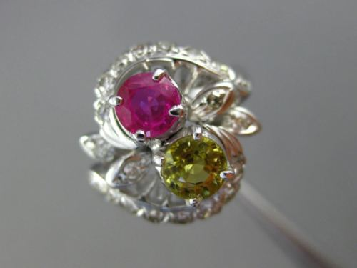LARGE 1.07CT DIAMOND & AAA PINK YELLOW SAPPHIRE 14KT WHITE GOLD FLOWER LOVE RING