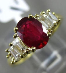 ESTATE 1.76CT BAGUETTE DIAMOND & AAA OVAL RUBY 18KT YELLOW GOLD ENGAGEMENT RING