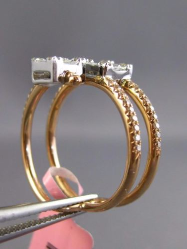.59CT ROUND & BAGUETTE DIAMOND 18KT WHITE & ROSE GOLD 3D CRISS CROSS SQUARE RING