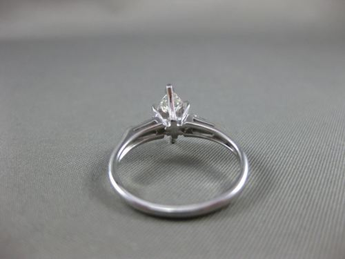 ESTATE WIDE .86CT DIAMOND MARQUISE 14KT WHITE GOLD 3 STONE ENGAGEMENT RING 22151
