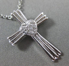 ANTIQUE .10CT DIAMOND 14KT WHITE GOLD PAVE HEART & CROSS DESIGN PENDANT #16637
