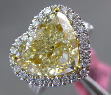 GIA LARGE 5.57CT WHITE & YELLOW DIAMOND 18K 2 TONE GOLD 3D HEART ENGAGEMENT RING