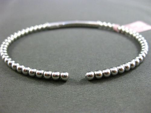 ESTATE .22CT DIAMOND 14KT WHITE GOLD 3D CLASSIC BEADS FLEXIBLE BANGLE BRACELET