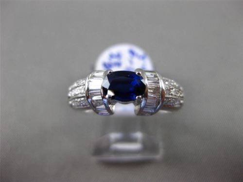 ANTIQUE 2.21CT DIAMOND & AAA SAPPHIRE 18KT WHITE GOLD 3D OVAL ENGAGEMENT RING