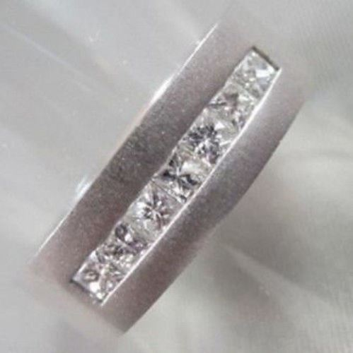 WIDE 7mm HAND CRAFTED .90CT F VVS DIAMOND 14KT WHITE GOLD MENS WEDDING BAND !!!!