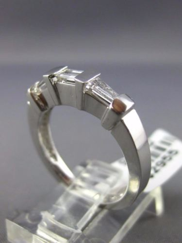 ESTATE WIDE .59CT BAGUETTE & DIAMOND 14KT WHITE GOLD 3D WEDDING ANNIVERSARY RING