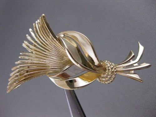 ANTIQUE LARGE 14KT YELLOW GOLD FLOWER GRAIN SHEAF FILIGREE PIN BROOCH #49X23