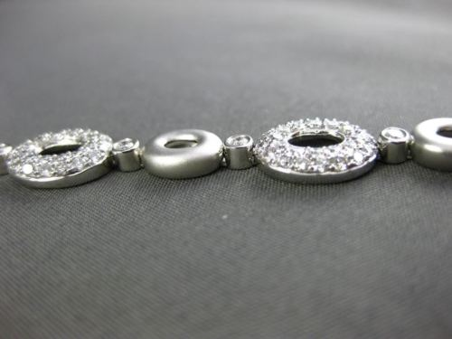ESTATE WIDE 3.75CT DIAMOND 18KT WHITE GOLD 3D OVAL PAVE ETOILE TENNIS BRACELET