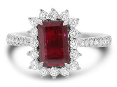 GIA CERTIFIED 2.0CT DIAMOND & AAA RUBY 18KT WHITE GOLD 3D HALO FRIENDSHIP RING