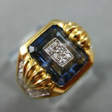 ESTATE WIDE 2.35CT ROUND DIAMOND & AAA SAPPHIRE 18KT YELLOW GOLD 3D MENS RING