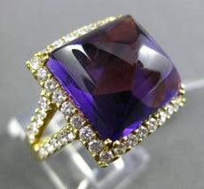 ANTIQUE LARGE 14.37CT DIAMOND & AAA AMETHYST 18KT YELLOW GOLD 3D COCKTAIL RING