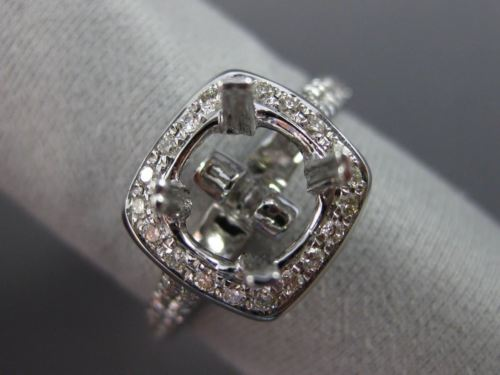 ESTATE WIDE .36CT DIAMOND 14K WHITE GOLD 3D SQURE HALO SEMI MOUNT ENGAGMENT RING