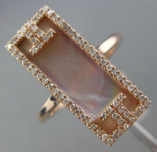 ESTATE WIDE 2.91CT DIAMOND & AAA MOTHER OF PEARL 14KT ROSE GOLD RECTANGULAR RING