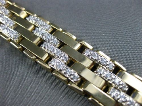 ESTATE WIDE LONG 4.0CT DIAMOND 14K WHITE & YELLOW GOLD MULTI LINK BRACELET #2226